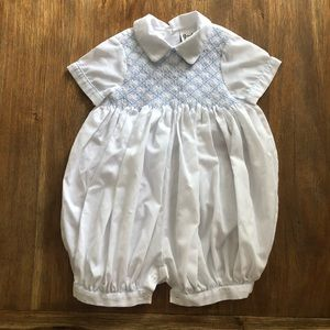 White and baby blue smock